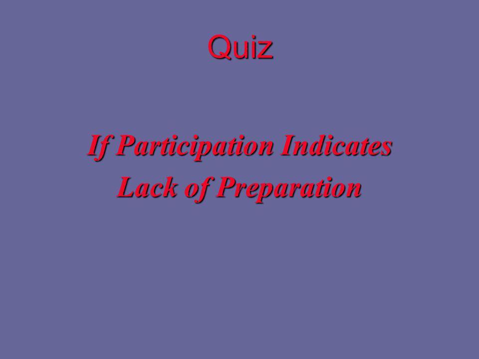 Quiz If Participation Indicates Lack of Preparation