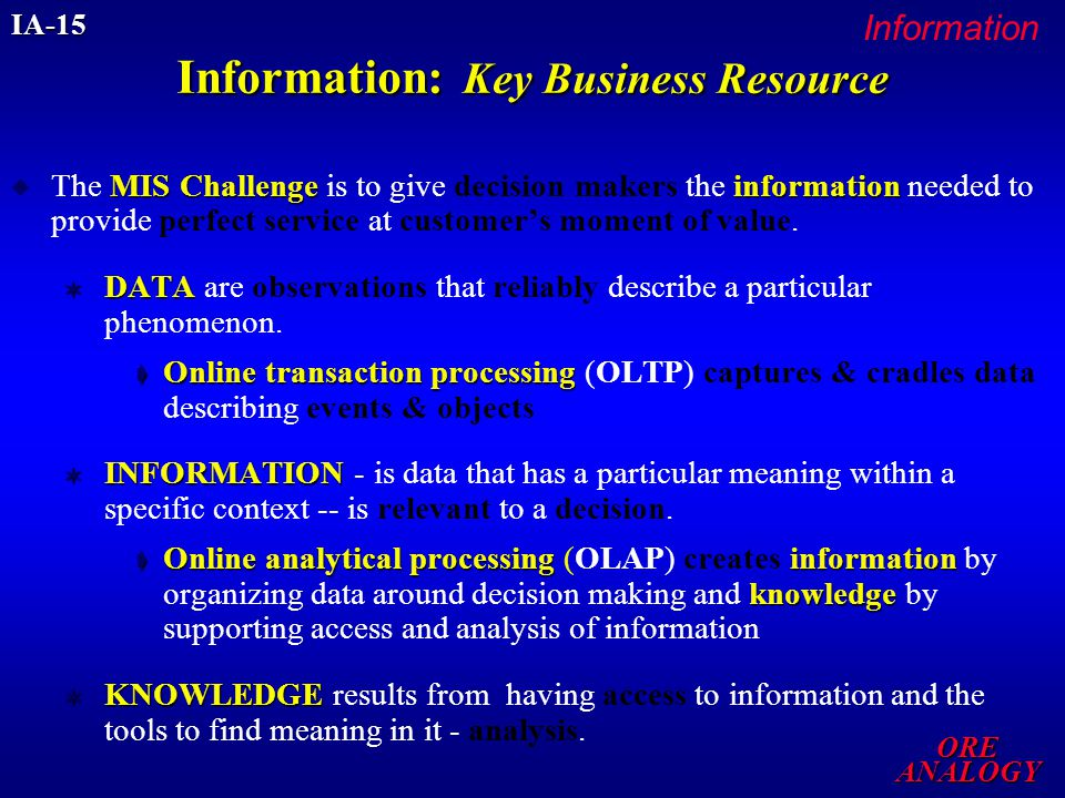 DATABASES & DATA WAREHOUSES Access to a Gold Mine of Information The real value will come from getting the right information to the right people, at the right time, and giving those people the tools to find the meaning in it. Declaration of Integration Abbie Lundberg CIO 1Dec2002 performinformation processing (5Cs) for MIS challenge IA-15