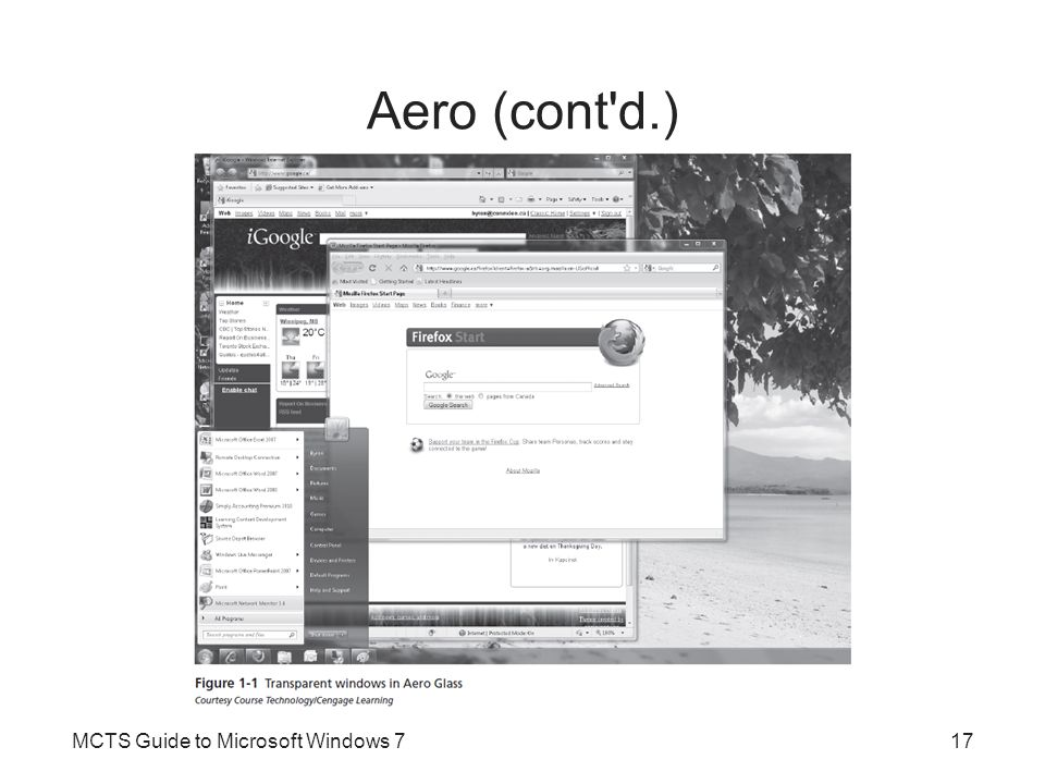 Aero (cont d.) MCTS Guide to Microsoft Windows 717