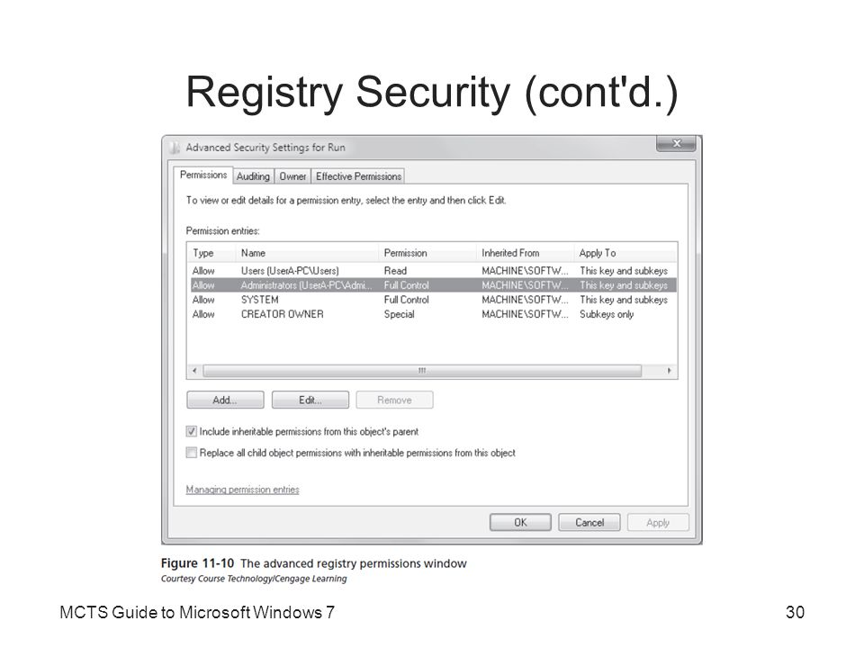 Registry Security (cont d.) Security settings are inherited from the top of the hive down to the bottom of the hive Permission inheritance and default security options should not be changed –Without a good reason to do so Owner of the keys is usually listed as SYSTEM In Windows 7, the operating system code and services run in a user session –If registry permissions are altered, the registry data may not be available to the operating system MCTS Guide to Microsoft Windows 731