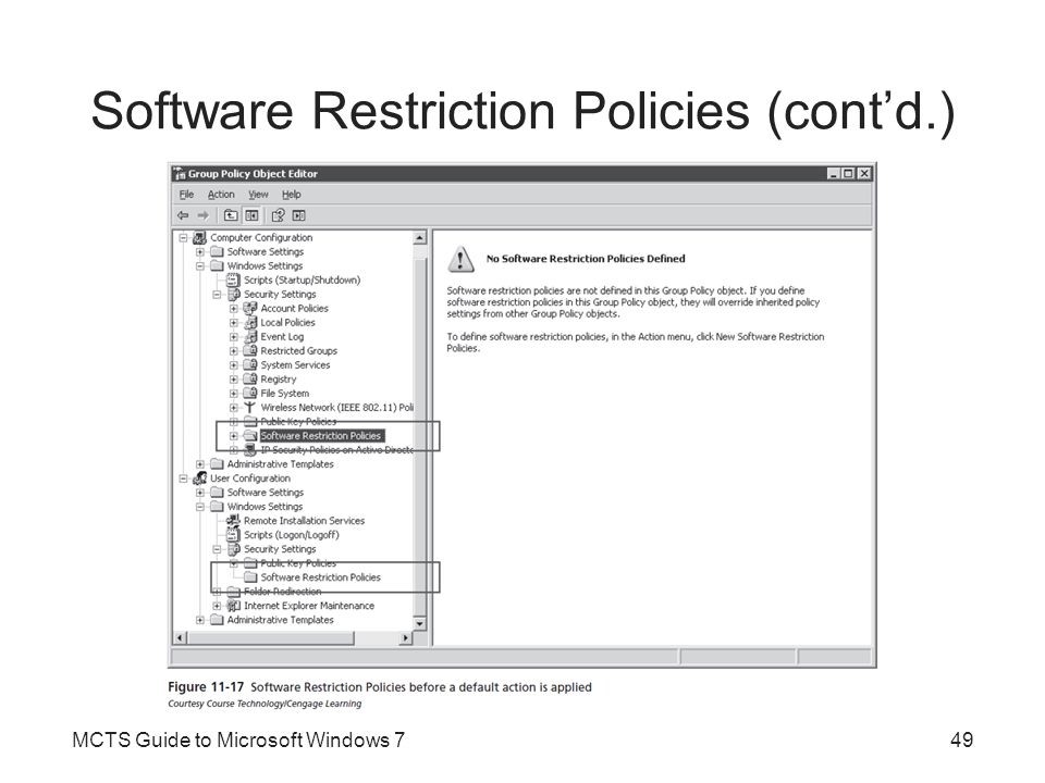 Software Restriction Policies (cont'd.) Additional rule types that can be created as exceptions include: –Hash Rule –Path Rule –Internet Zone Rule –Certificate Rule –Registry Key Rule Software restriction policies know about most executable file types based on their file extension Restriction policies are delivered by Group Policy MCTS Guide to Microsoft Windows 750