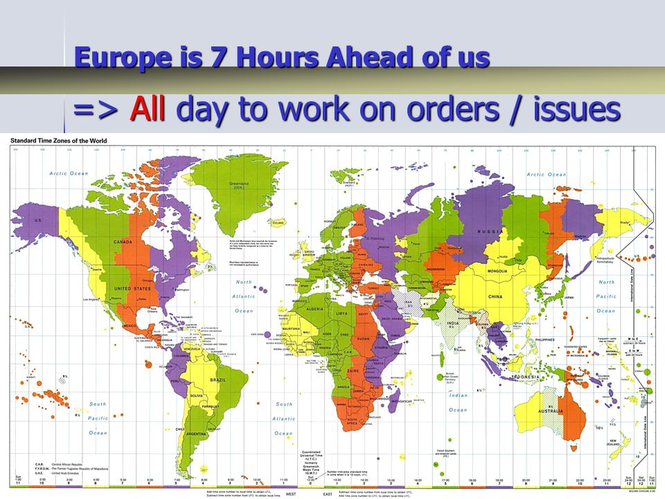 Europe is 7 Hours Ahead of us => All day to work on orders / issues => All day to work on orders / issues