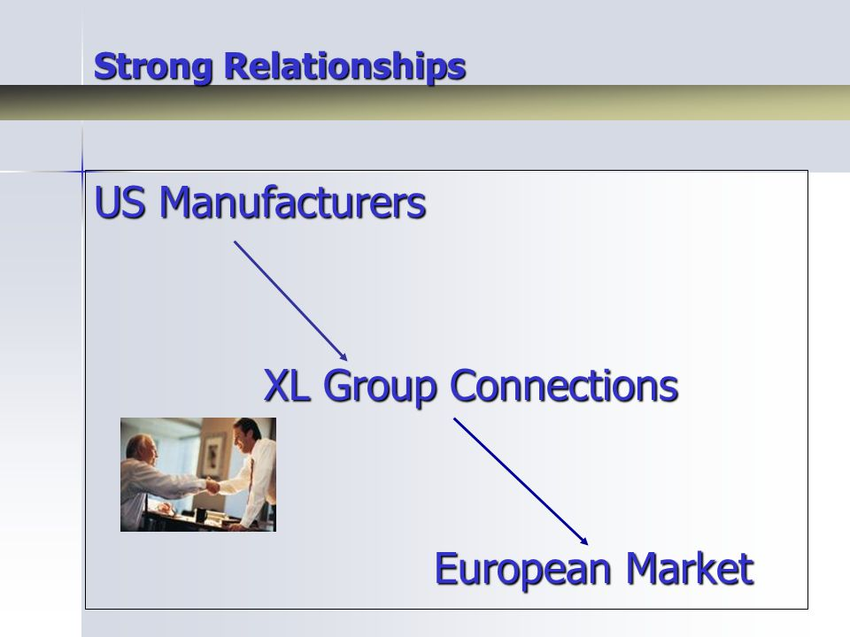 Strong Relationships US Manufacturers XL Group Connections European Market