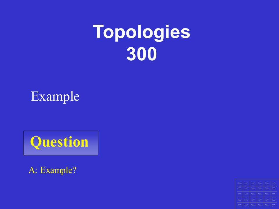 Question 100 200 300 400 500 A: Example Example Topologies 200