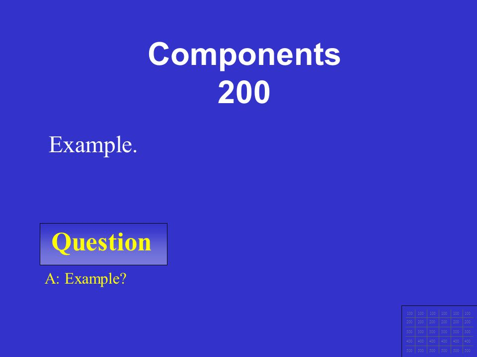 Question 100 200 300 400 500 A: Example. Example. Components 100