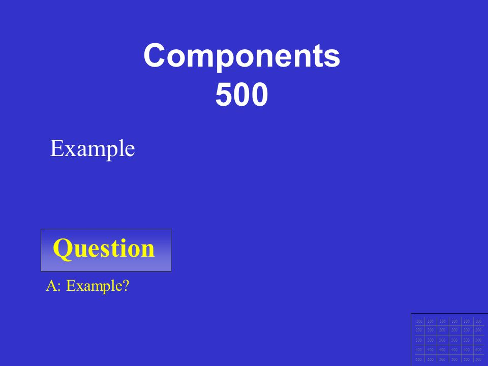 Question 100 200 300 400 500 A: Example Example Components 400