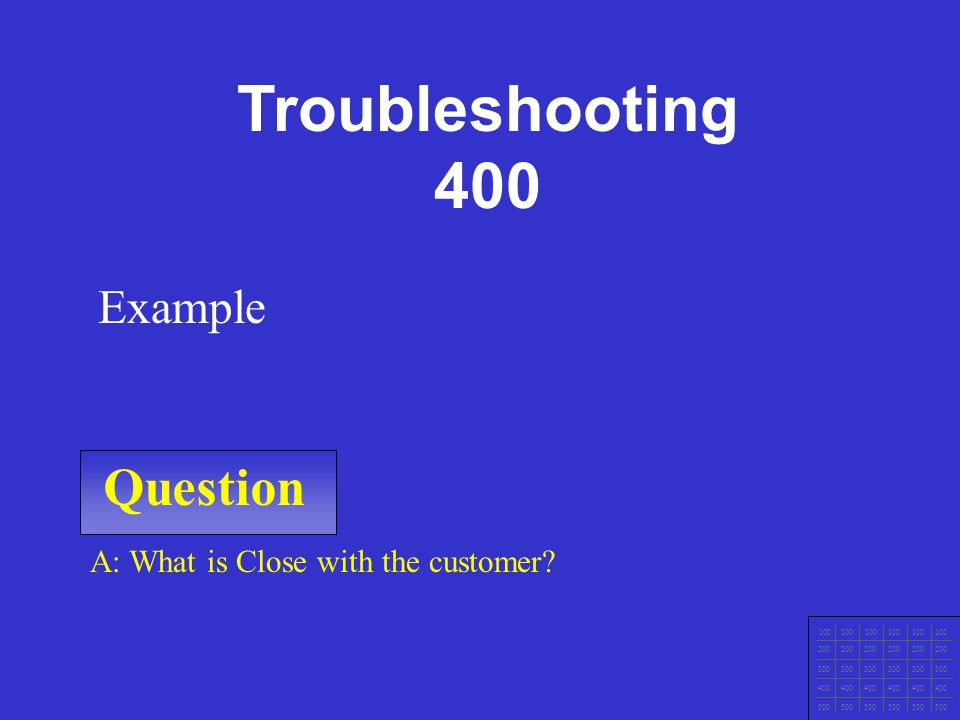 Question 100 200 300 400 500 A: Example Example. Troubleshooting 300