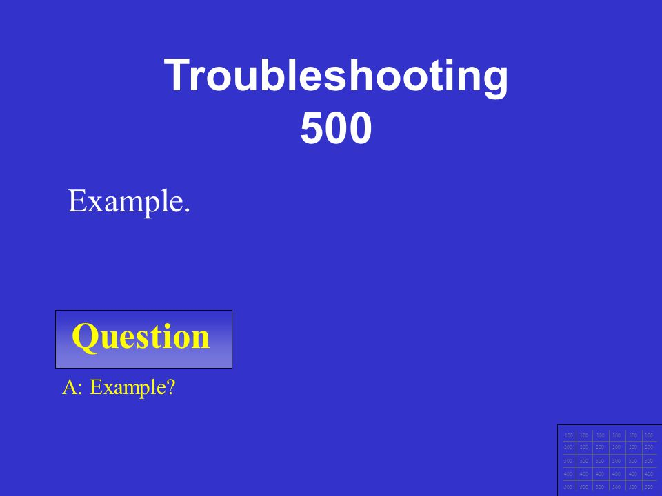 Question 100 200 300 400 500 A: What is Close with the customer Example Troubleshooting 400