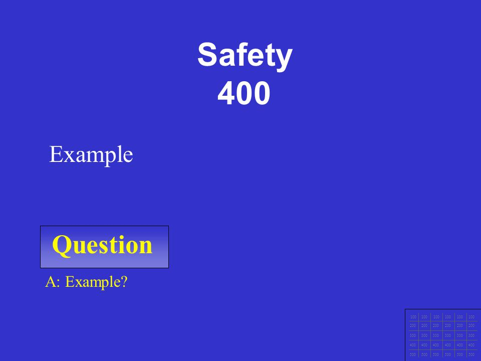 Question 100 200 300 400 500 A: Example Example Safety 300