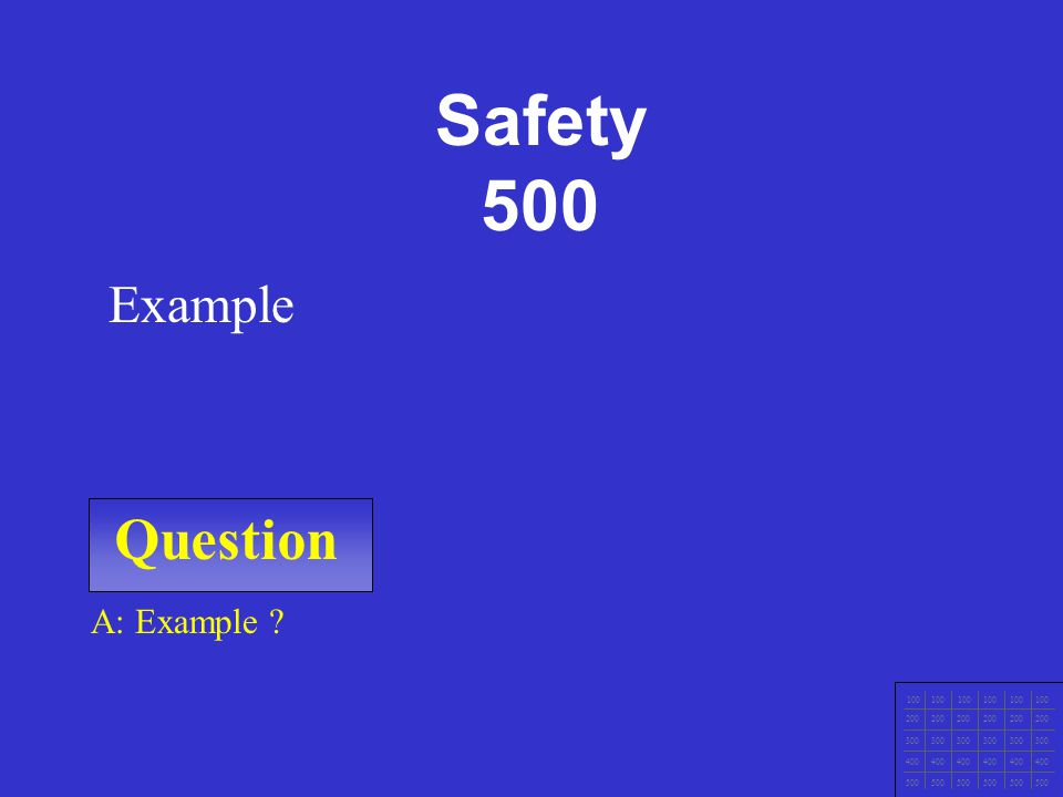 Question 100 200 300 400 500 A: Example Example Safety 400
