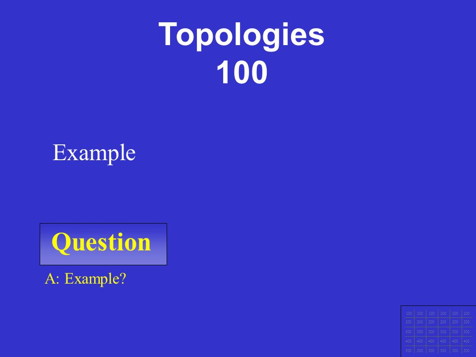 Question 100 200 300 400 500 A: Example Example Safety 500