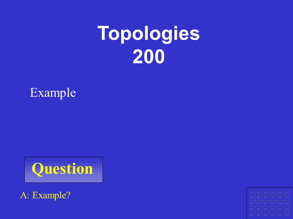 Question 100 200 300 400 500 A: Example Example Topologies 100 200 300 400 500