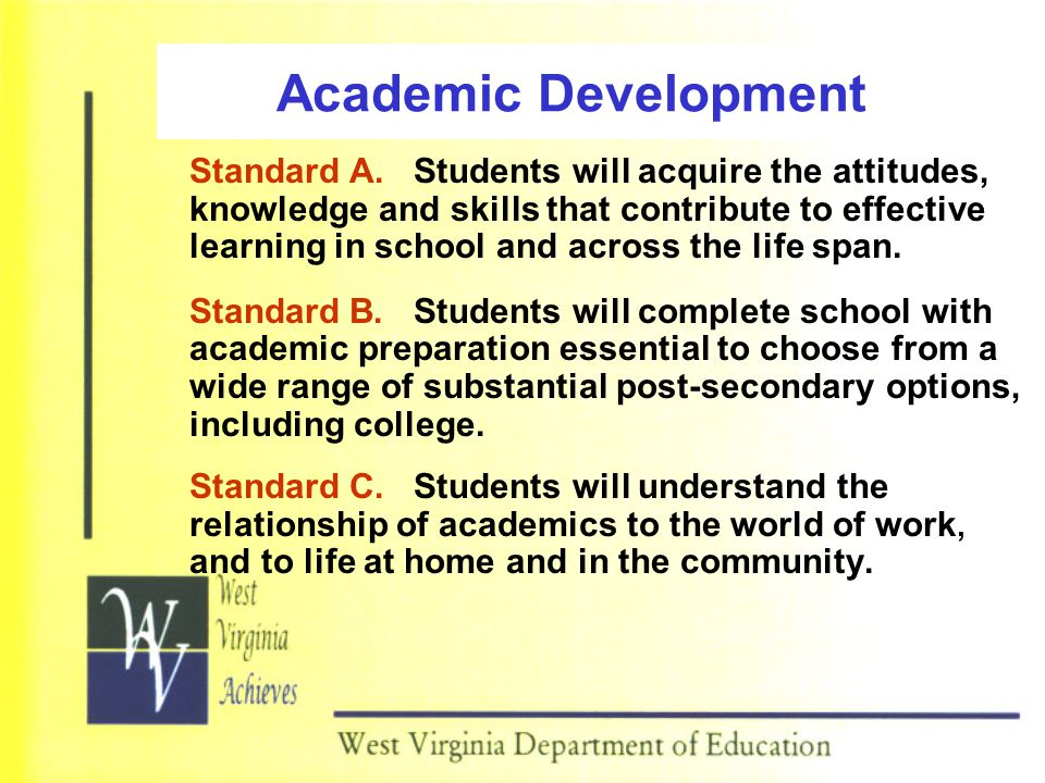 Academic Development Standard A. Students will acquire the attitudes, knowledge and skills that contribute to effective learning in school and across