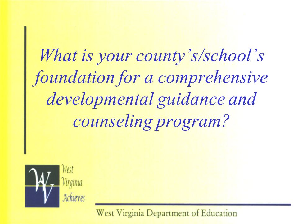 What is your county's/school's foundation for a comprehensive developmental guidance and counseling program?