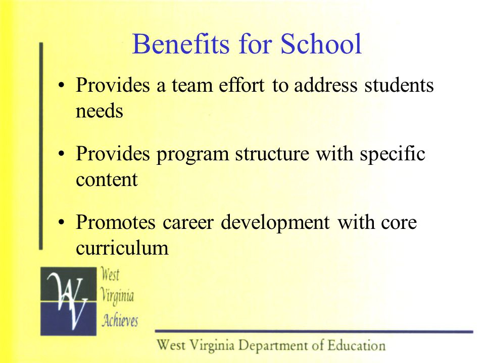 Benefits for Administrators Provides program structure with specific content Promotes accountability and meets need of GAP students Promotes a proactive, prevention-based program Promotes career development integration with core curriculum