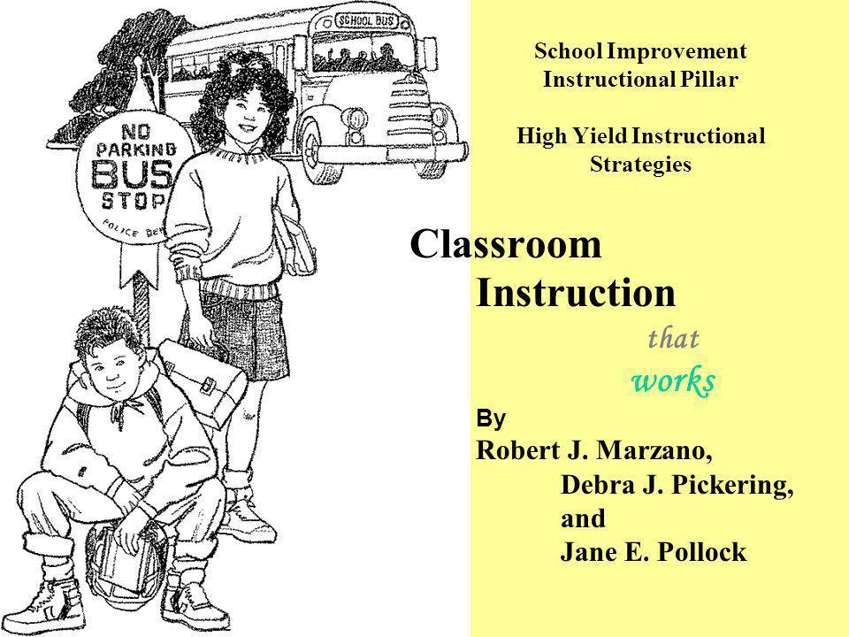 Classroom Instruction that works By Robert J. Marzano, Debra J. Pickering, and Jane E. Pollock School Improvement Instructional Pillar High Yield Inst