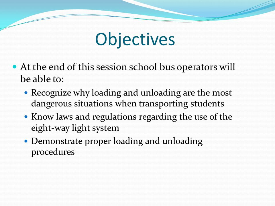 Approach and Check Evaluate bus stops while slowing on approach Pedestrians Traffic People who do not belong Look for late-arriving students Activate amber flashing lights Between 150 and 300 feet before bus stop Brake with transmission in gear Check traffic Give care to the road surface as you approach students