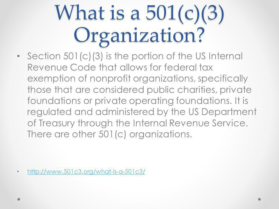 Qualifying Entities Entities that can seek 501(c)(3) determination from the IRS include corporations, trusts, community chests, LLCs[1], and unincorporated associations.