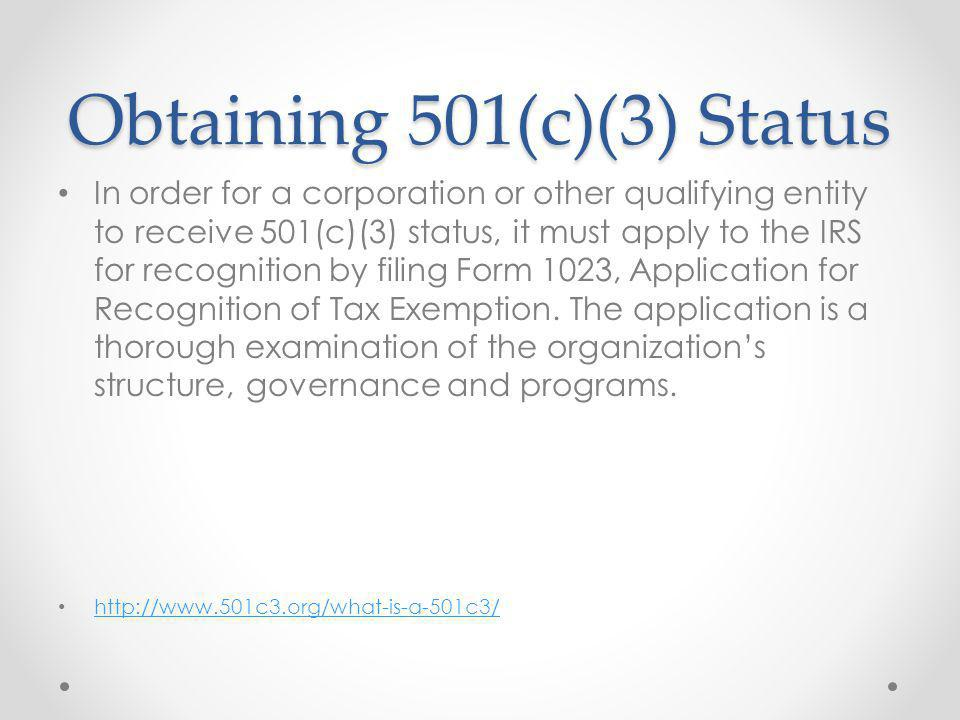 Step 10 File for 501(c)(3) status.
