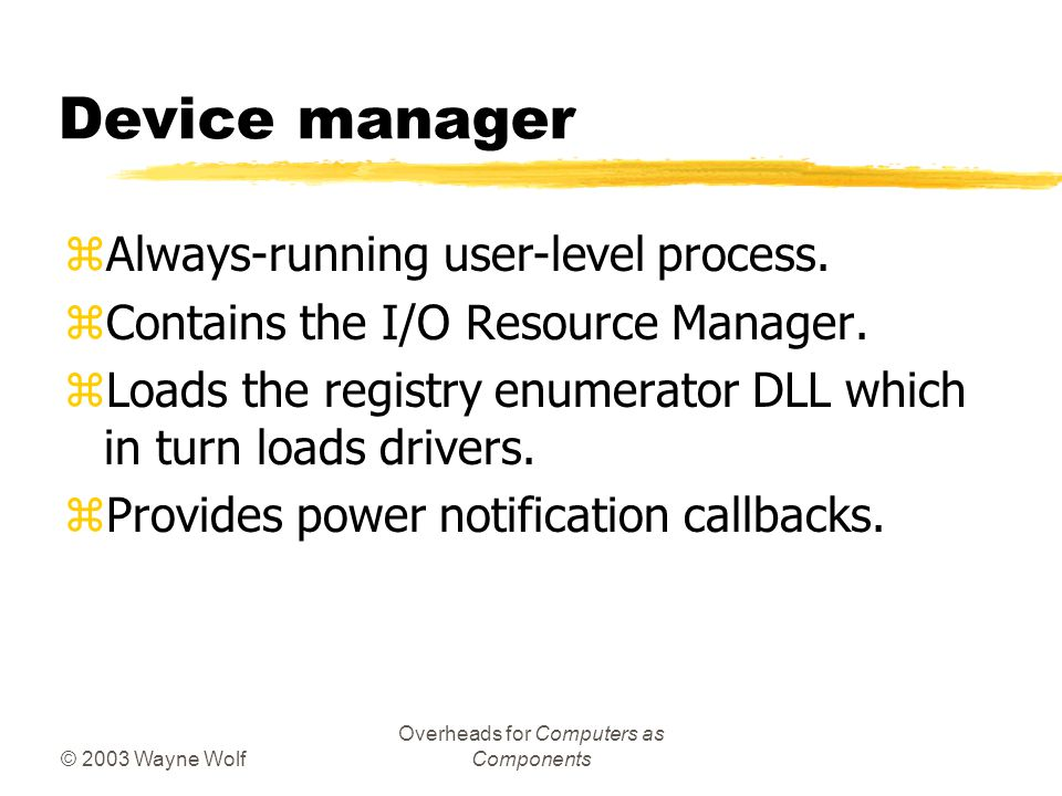 © 2003 Wayne Wolf Overheads for Computers as Components Device manager zAlways-running user-level process.