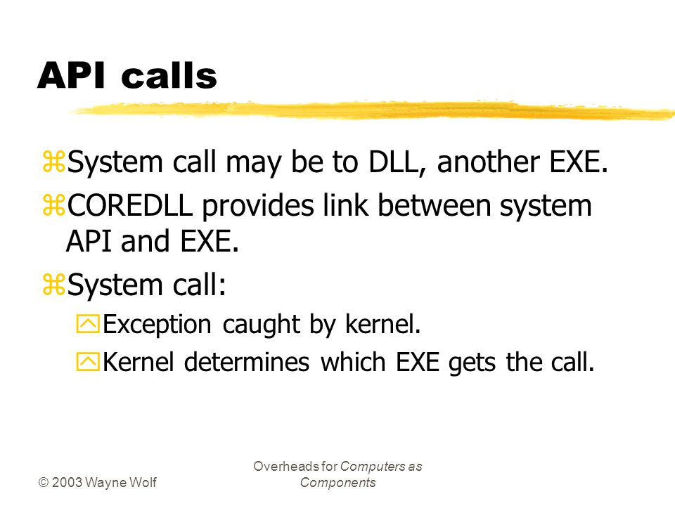 © 2003 Wayne Wolf Overheads for Computers as Components API calls zSystem call may be to DLL, another EXE.