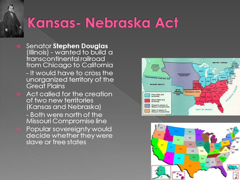  Douglas's bill repealed Missouri Compromise; bitter debate ensues  Act passed with support of the south  1854 - Kansas- Nebraska Act allowed popular sovereignty on slavery  Pro and anti-slavery groups rushed to Kansas to create a voting majority, leading to violence between the groups