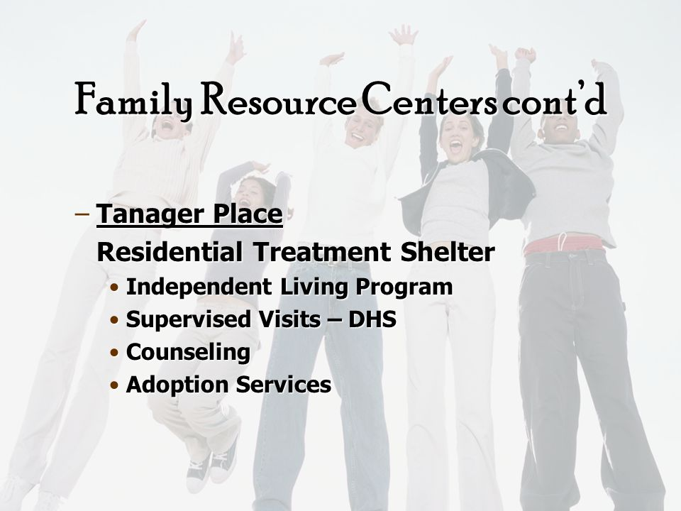 Family Resource Centers Jane Boyd Jane Boyd –Preschool –Youth Sport Programs –Adult & Family Fun –After School Programs –Parent Support Group –Employment Information –Health Information –Free Medical Clinic –Food Bank –LEAF Emergency Funds