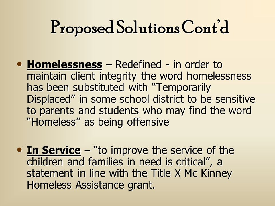 Proposed Solutions Active Website – utilized for updates Active Website – utilized for updates Handbook – Information regarding homelessness.