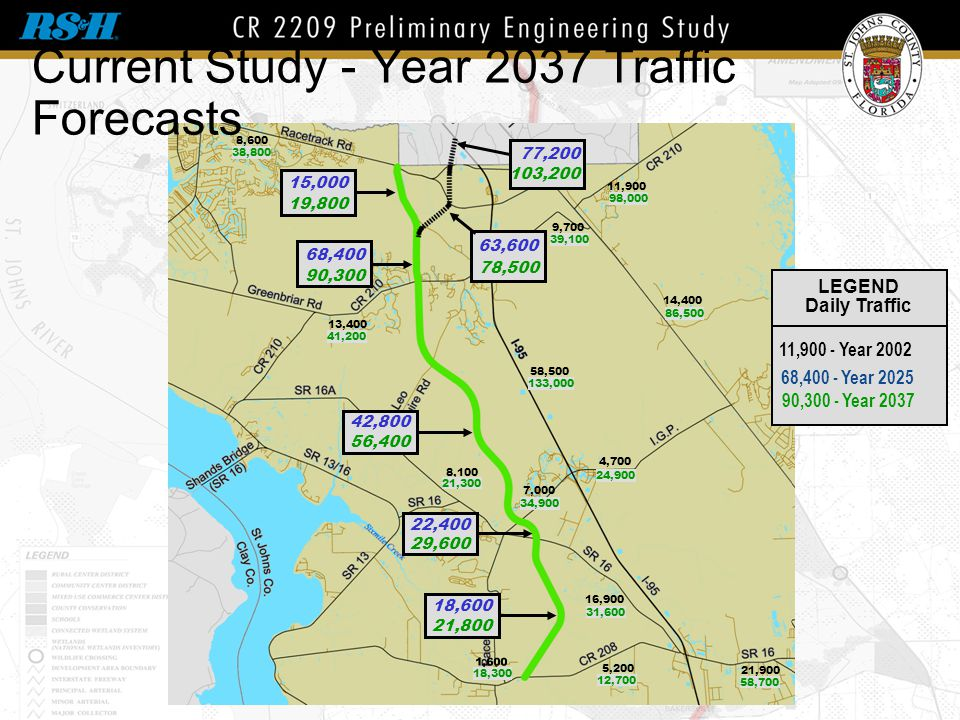 Current Study - Year 2037 Traffic Forecasts LEGEND Daily Traffic 11,900 -Year 2002 68,400 - Year 2025 90,300 -Year 2037 14,400 58,500 21,900 5,200 16,