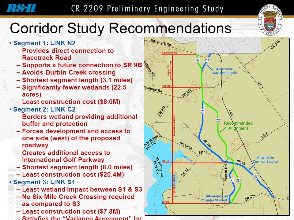 Corridor Study Recommendations Segment 1: LINK N2 –Provides direct connection to Racetrack Road –Supports a future connection to SR 9B –Avoids Durbin
