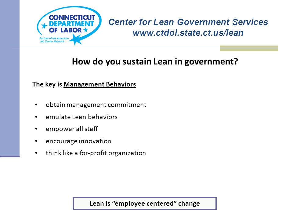 The LEAN Team How do you sustain Lean in government.