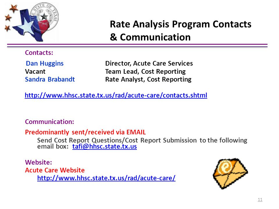 Rate Analysis Program Contacts & Communication Contacts: Dan Huggins Director, Acute Care Services Vacant Team Lead, Cost Reporting Sandra Brabandt Ra