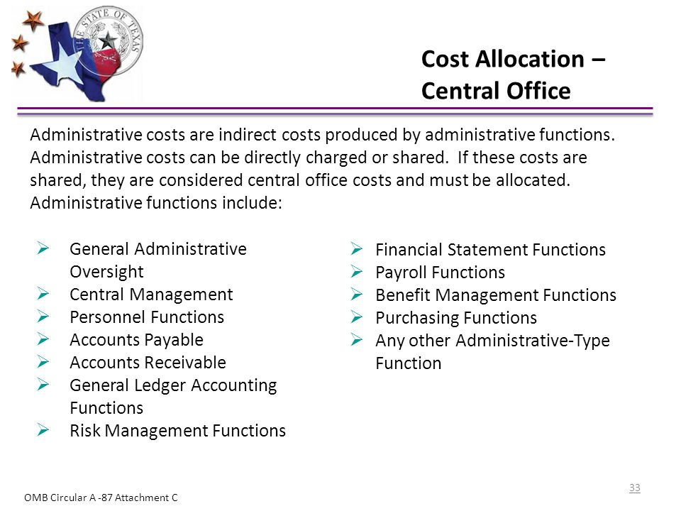 Cost Allocation – Central Office  General Administrative Oversight  Central Management  Personnel Functions  Accounts Payable  Accounts Receivabl