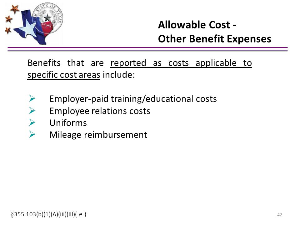 Allowable Cost - Other Benefit Expenses Benefits that are reported as costs applicable to specific cost areas include:  Employer-paid training/educat