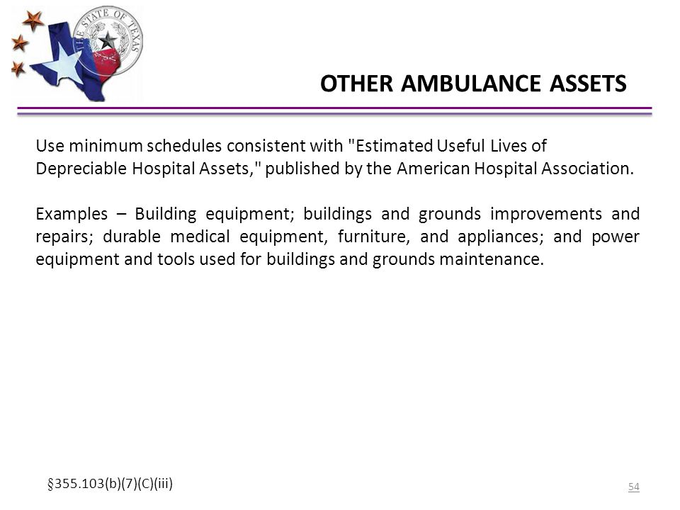 OTHER AMBULANCE ASSETS Use minimum schedules consistent with