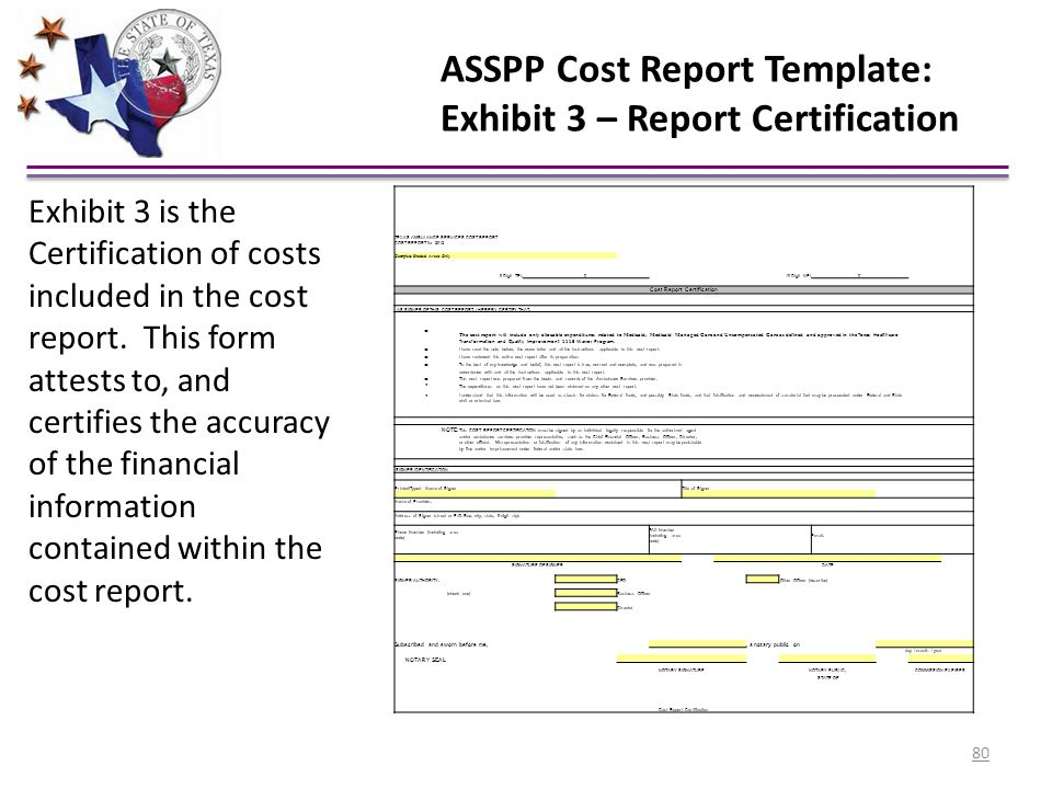 ASSPP Cost Report Template: Exhibit 3 – Report Certification TEXAS AMBULANCE SERVICES COST REPORT COST REPORT for 2012 Complete Shaded Areas Only 9-Di