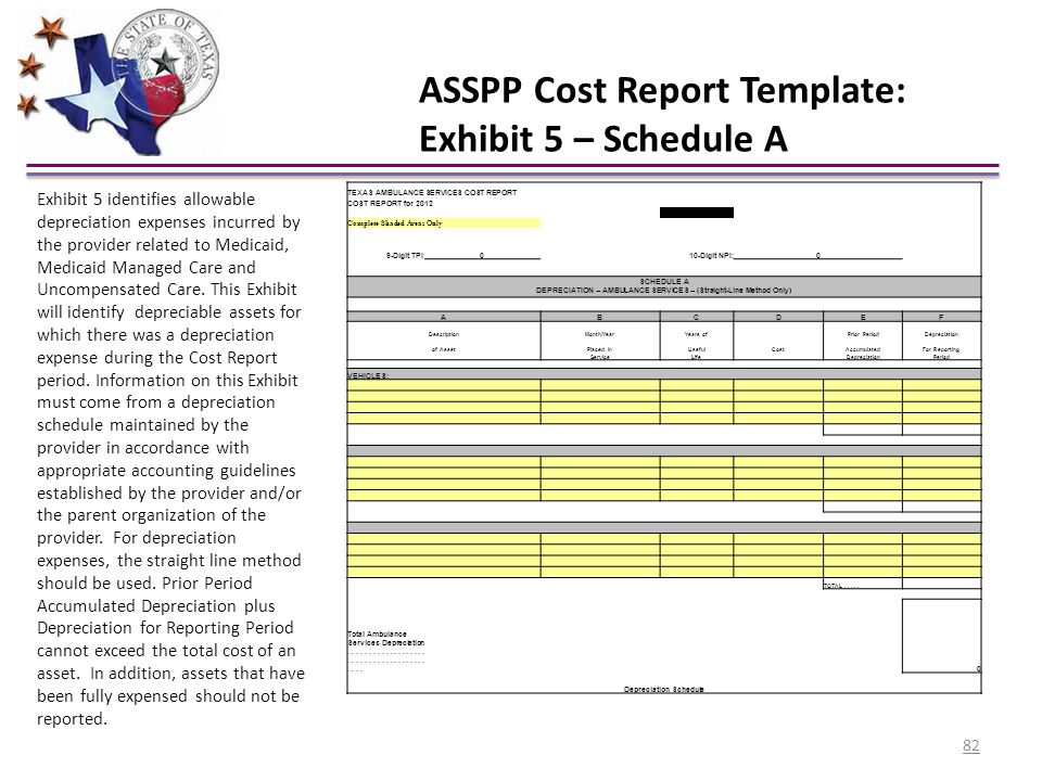 ASSPP Cost Report Template: Exhibit 5 – Schedule A TEXAS AMBULANCE SERVICES COST REPORT COST REPORT for 2012 Complete Shaded Areas Only 9-Digit TPI:01