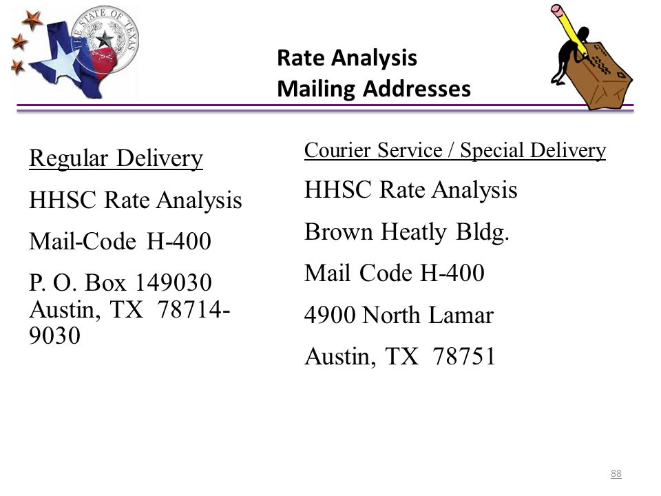 Rate Analysis Mailing Addresses Regular Delivery HHSC Rate Analysis Mail-Code H-400 P. O. Box 149030 Austin, TX 78714- 9030 Courier Service / Special