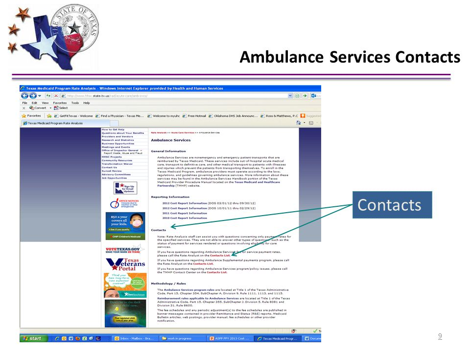 Contacts Ambulance Services Contacts 9