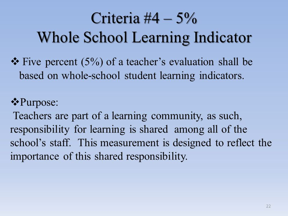 Criteria #4 – 5% Whole School Learning Indicator Criteria #4 – 5% Whole School Learning Indicator  Five percent (5%) of a teacher's evaluation shall