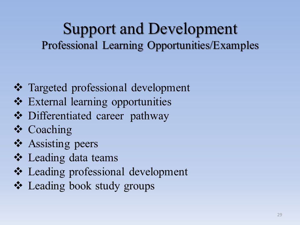 Support and Development Professional Learning Opportunities/Examples Support and Development Professional Learning Opportunities/Examples  Targeted p