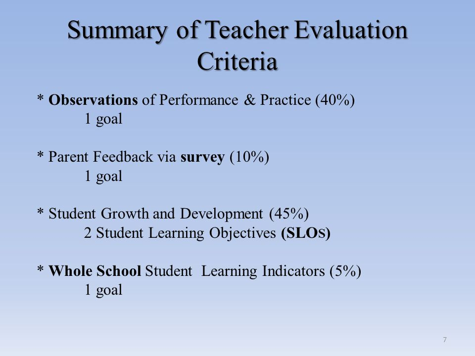 Support and Development for Teachers Support and Development for Teachers  Linked to evaluation process outcomes related to: - student learning - observation of professional practice - results of stakeholder feedback  Can occur at multiple points during the year  Linked to performance levels 28