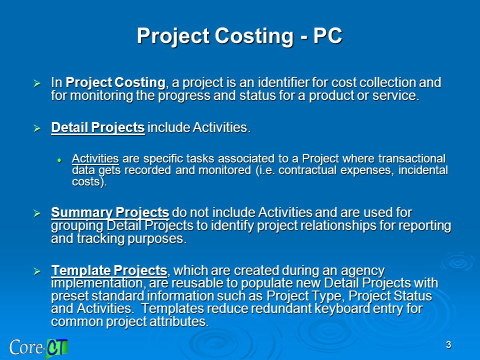 3  In Project Costing, a project is an identifier for cost collection and for monitoring the progress and status for a product or service.  Detail P