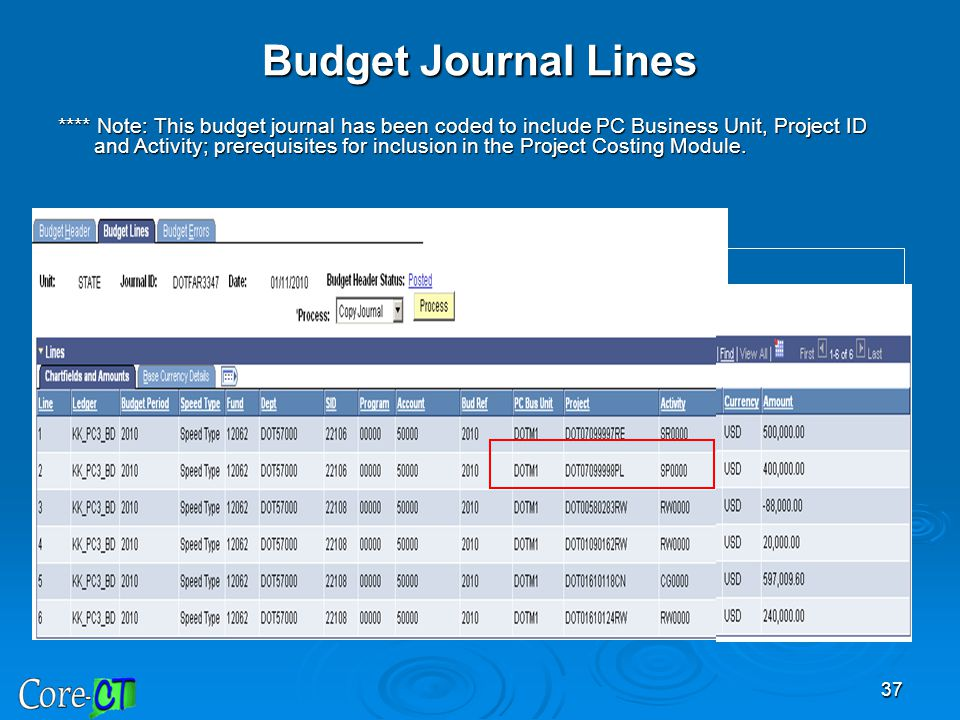 37 Budget Journal Lines **** Note: This budget journal has been coded to include PC Business Unit, Project ID and Activity; prerequisites for inclusio