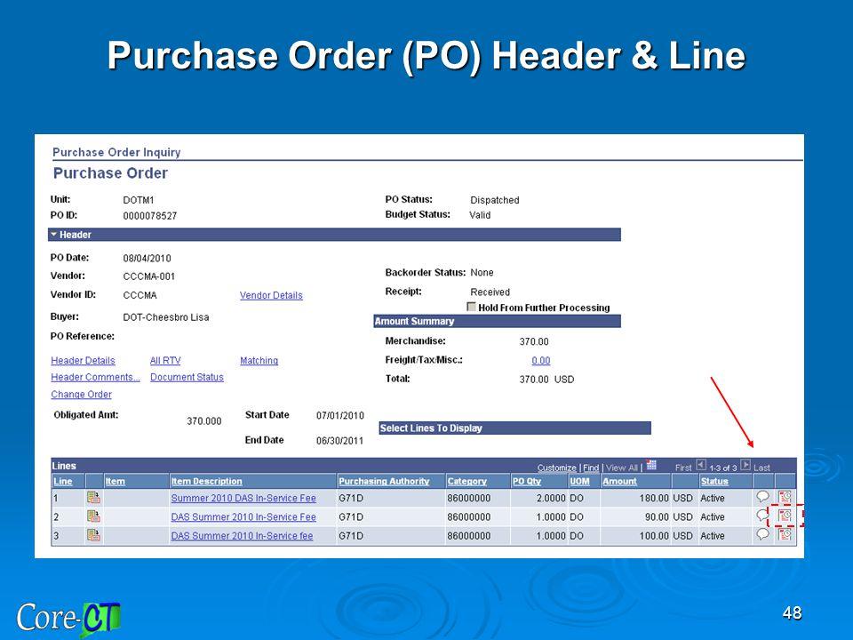 48 Purchase Order (PO) Header & Line