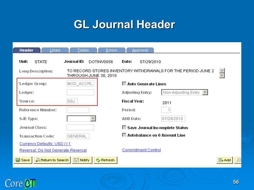 56 GL Journal Header