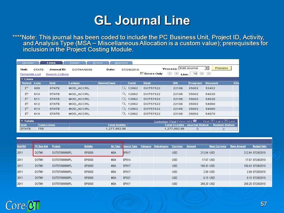 57 GL Journal Line ****Note: This journal has been coded to include the PC Business Unit, Project ID, Activity, and Analysis Type (MSA – Miscellaneous