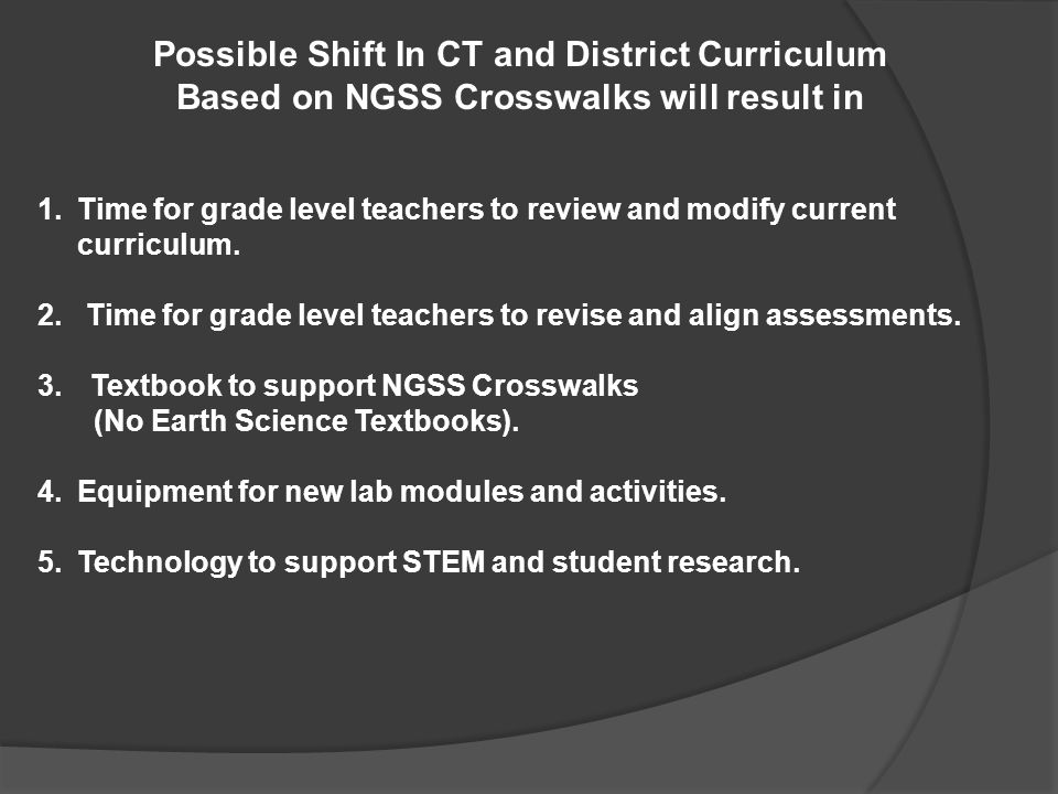 Possible Shift In CT and District Curriculum Based on NGSS Crosswalks will result in 1.Time for grade level teachers to review and modify current curr