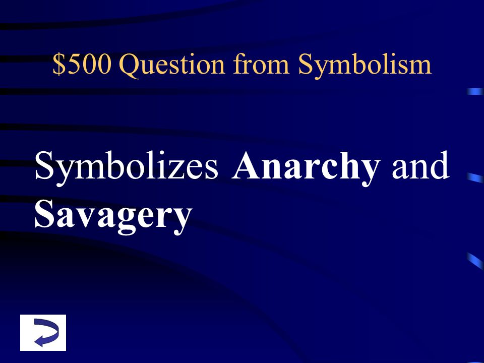 $500 Question from Symbolism Symbolizes Anarchy and Savagery