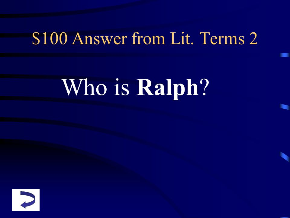 $100 Answer from Lit. Terms 2 Who is Ralph
